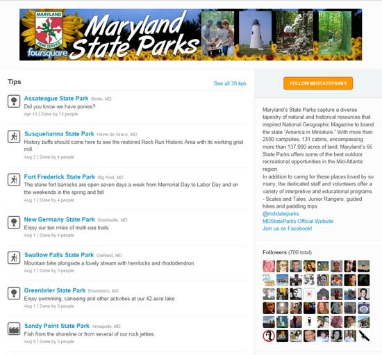 Maryland State Parks Foursquare page